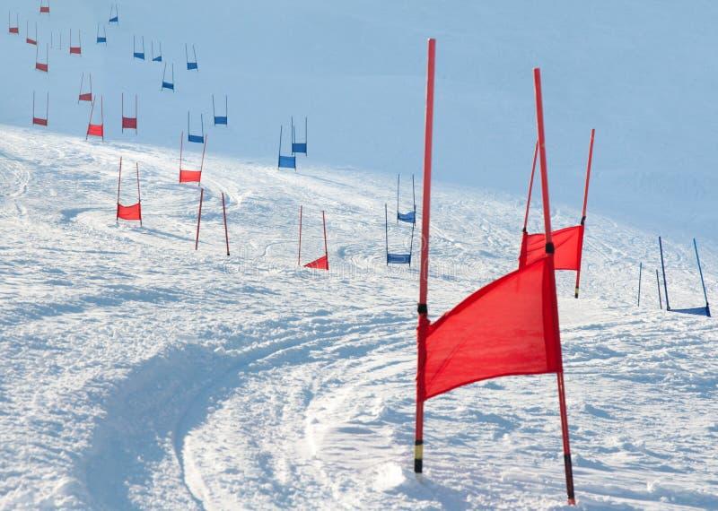 Puertas del esquí con eslalom paralelo imagen de archivo libre de regalías