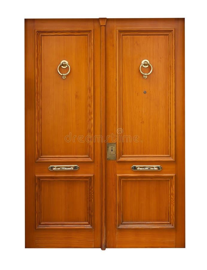 Puertas dobles de madera Aislado sobre blanco imagen de archivo libre de regalías