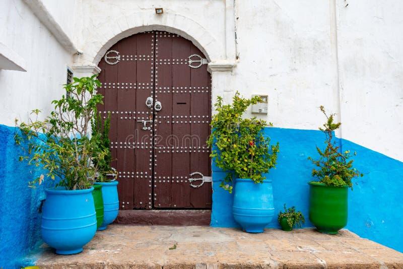 Puertas dobles y plantas en el Kasbah azul del Udayas en Rabat Marruecos fotos de archivo libres de regalías