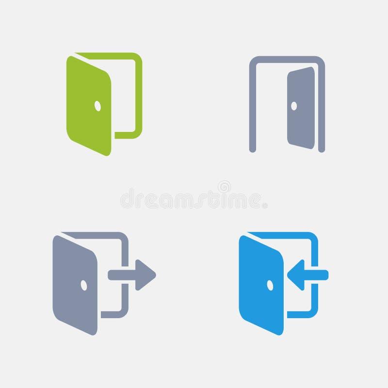 Puertas - iconos del granito ilustración del vector