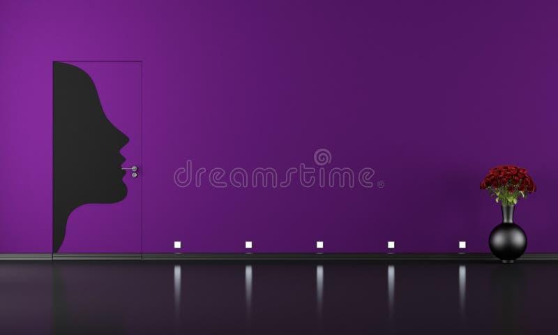 Puertas a ras de la pared en sitio púrpura ilustración del vector
