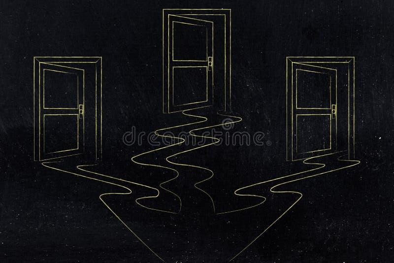 3 puertas semi-abiertas que representan diversas opciones de la vida stock de ilustración