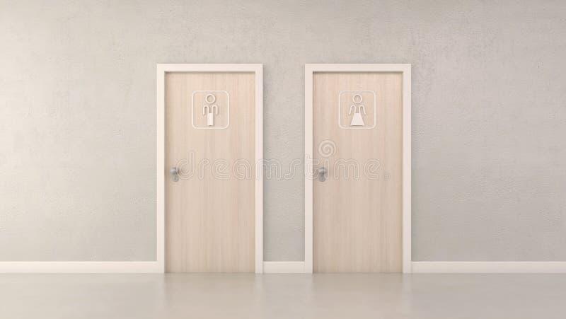 Puertas y pictograma modernos del retrete ilustración del vector