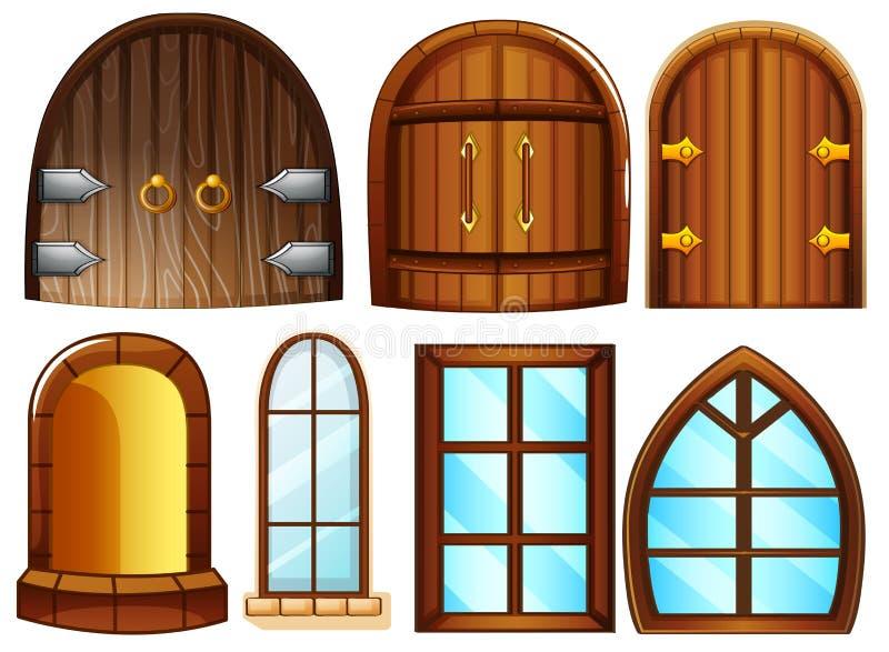 Puertas y ventanas ilustración del vector