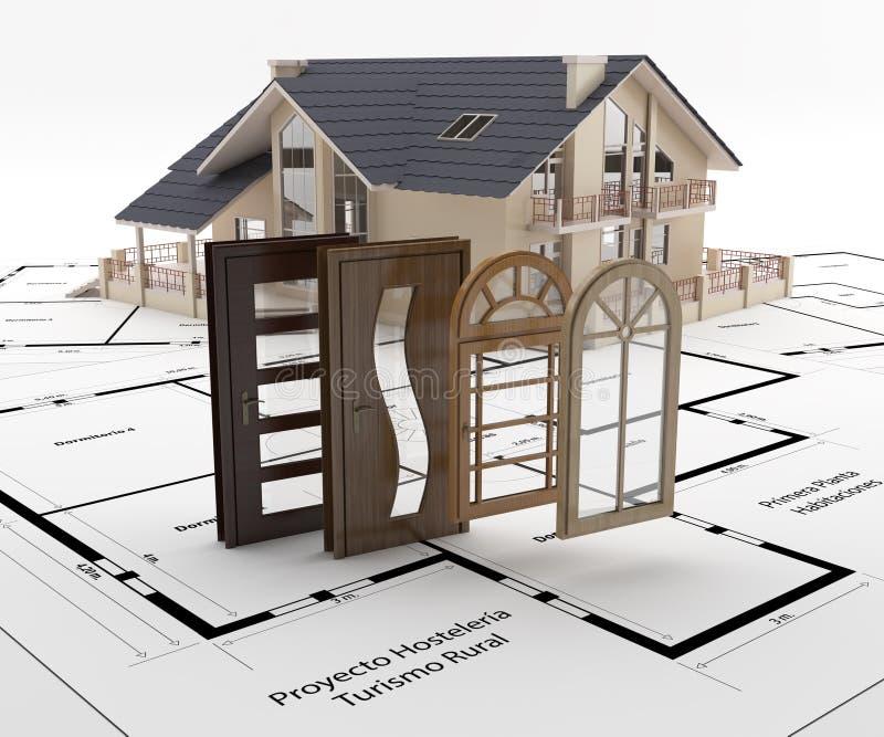 Puertas y ventanas a la casa Aislamiento de la energía ilustración del vector