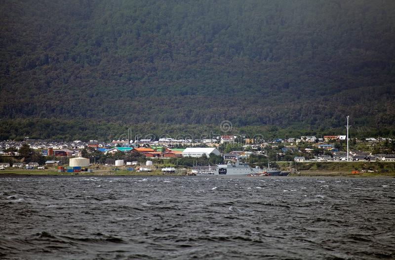 Puerto Ουίλιαμς στο νησί Navarino που αντιμετωπίζει το κανάλι λαγωνικών, Χιλή στοκ φωτογραφία με δικαίωμα ελεύθερης χρήσης