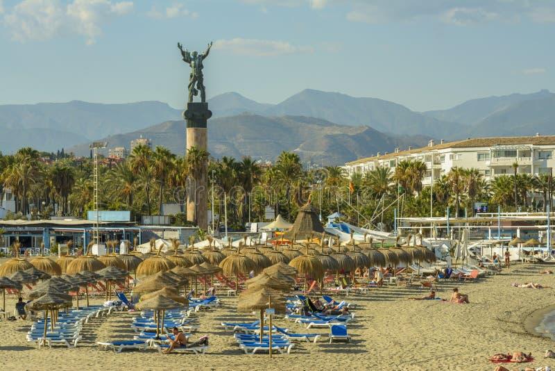 Puerto Banu海滩,马尔韦利亚,西班牙 库存照片