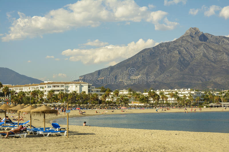 Puerto Banus beach, Marbella, Spain royalty free stock photo