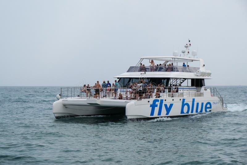PUERTO BANUS - JULY 6 : Catamaran Leaving Puerto Banus Spain on royalty free stock images
