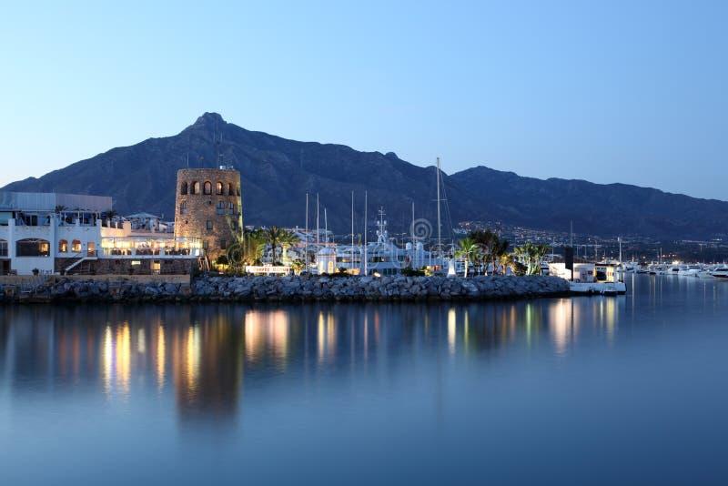 Puerto Banus På Skymning, Spanien Arkivbild