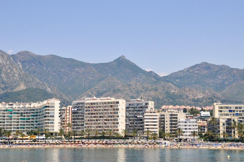 PUERTO BANUS, SPAIN Panorama of Puerto Banus, Marbella, Spain stock images
