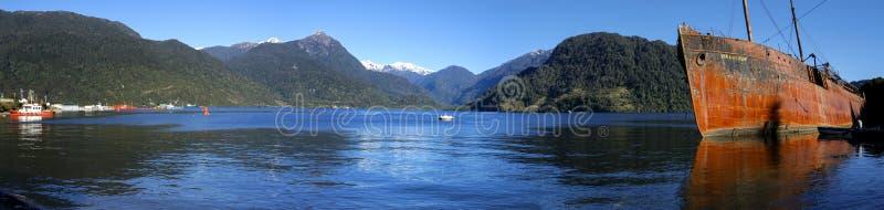Puerto Chacabuco, Patagonia de Chile foto de archivo