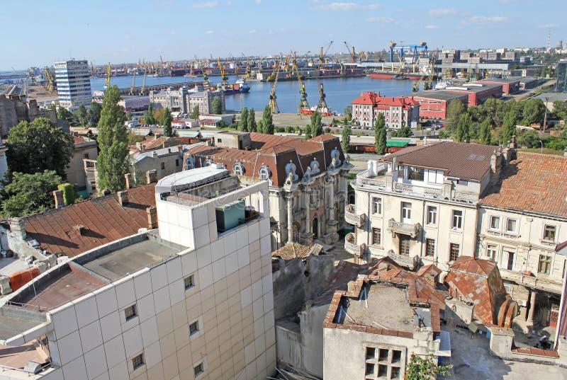Puerto Comercial y la casa con los leones - Constanta Rumania foto de archivo libre de regalías