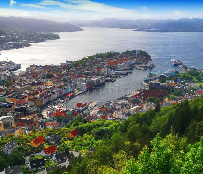 Puerto de Bergen, Noruega imagenes de archivo