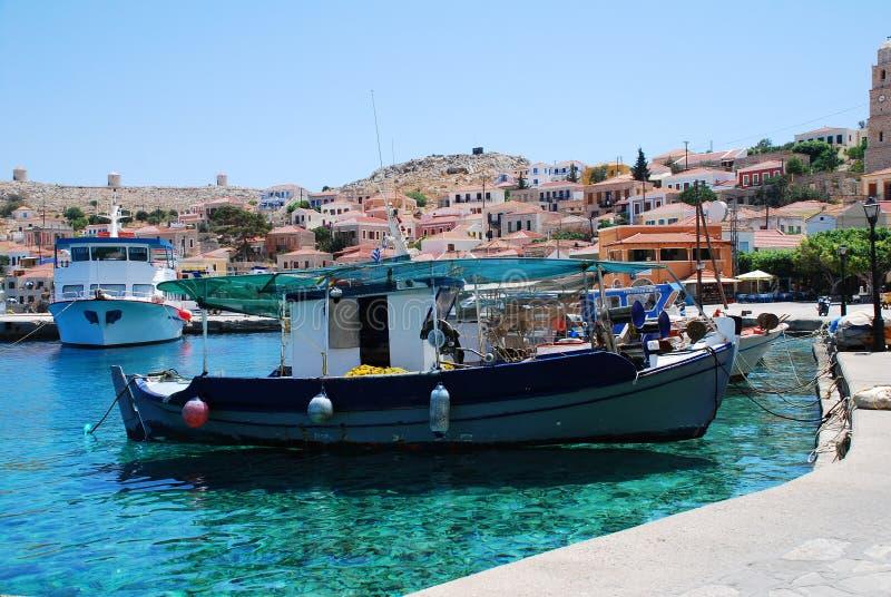 Puerto de Emborio, isla de Halki fotografía de archivo