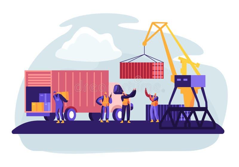 Puerto de env?o con el puerto Crane Loading Containers a Marine Freight Boat Trabajadores Carry Boxes del puerto del cami?n en mu stock de ilustración