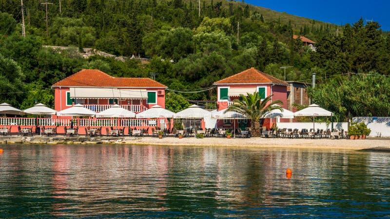 Puerto de Fiskardo en la isla de Kefalonia, Grecia fotos de archivo libres de regalías