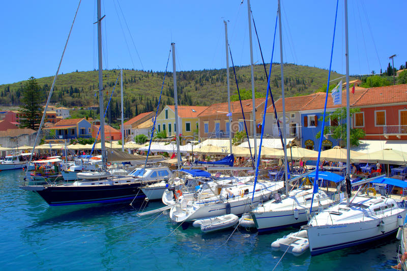 Puerto de Fiskardo, isla Grecia de Kefalonia imágenes de archivo libres de regalías