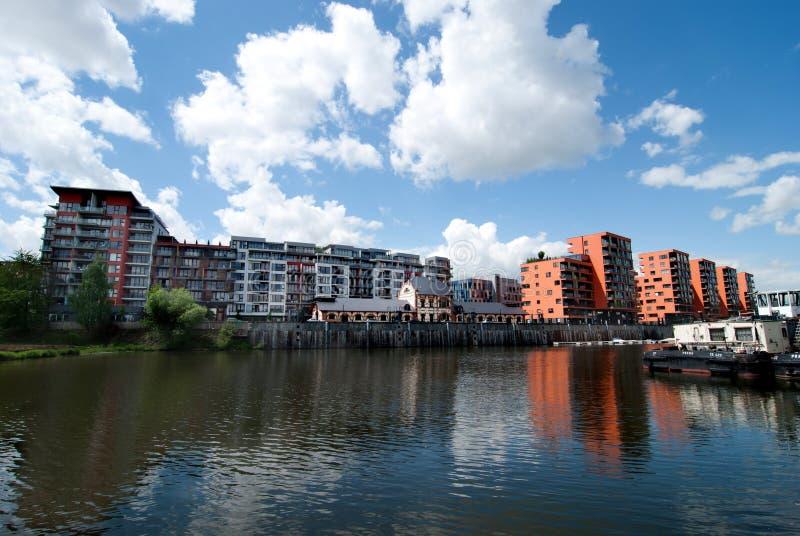 Puerto de Holesovice, Praga fotografía de archivo