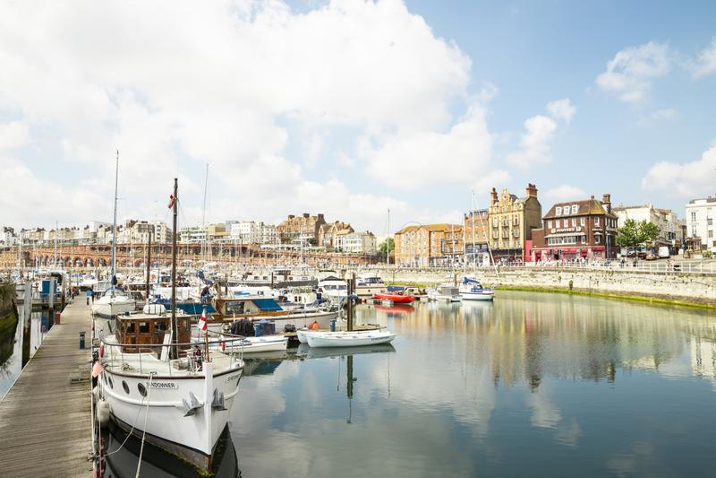 Puerto de la ciudad de Ramsgate en Reino Unido, Europa fotos de archivo
