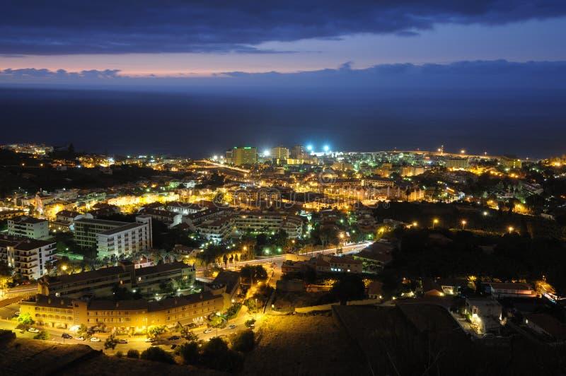 Puerto DE La Cruz bij nacht, Tenerife royalty-vrije stock foto