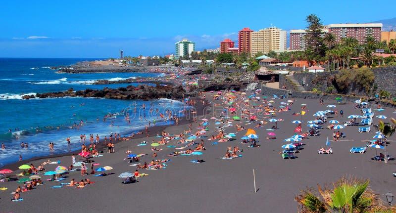 Puerto de la Cruz, Playa Jardin, Ténérife, îles canariennes images libres de droits