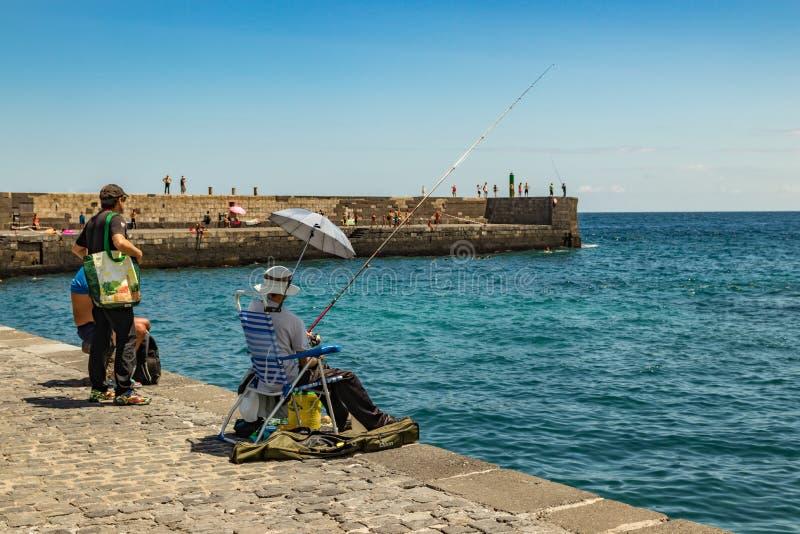 2019-01-12, Puerto de la Cruz, Santa Cruz de Tenerife O porto de Puerto de la Cruz é uma atração turística e um favorito populare imagem de stock royalty free
