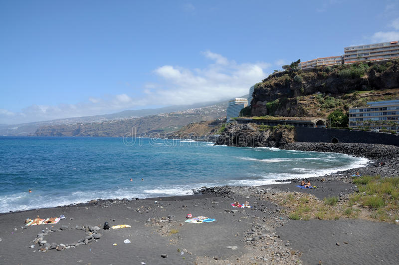 Puerto DE La Cruz strand. Tenerife, Spanje stock afbeelding