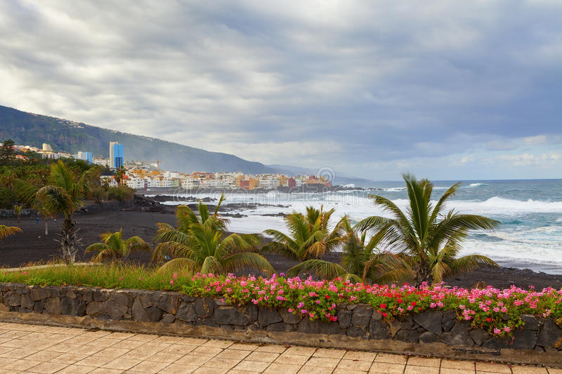 Puerto de la cruz view. In the island of tenerife stock images