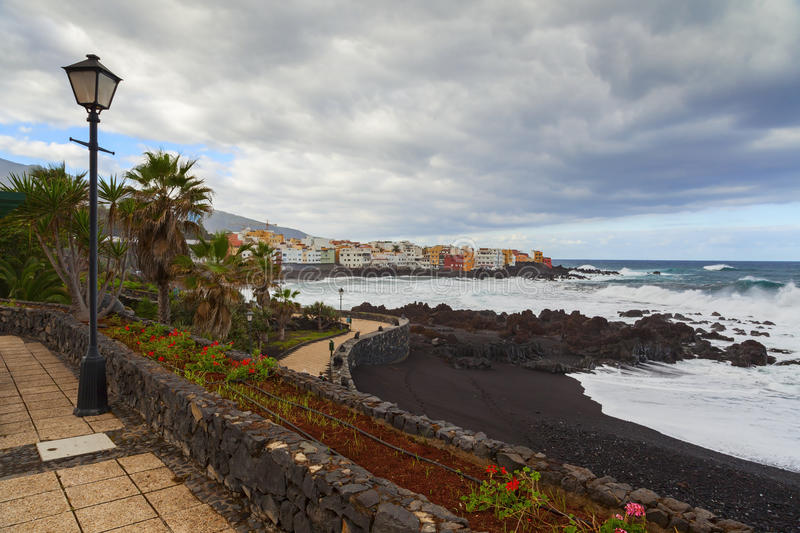 Puerto de la cruz view. In the island of tenerife royalty free stock image
