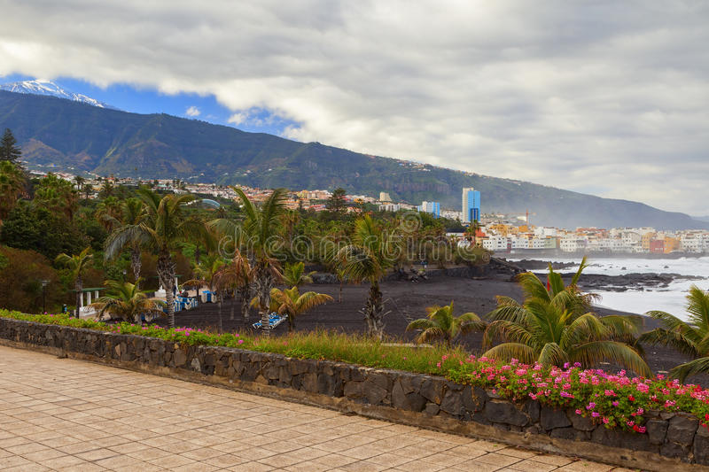 Puerto de la cruz view. In the island of tenerife stock photos