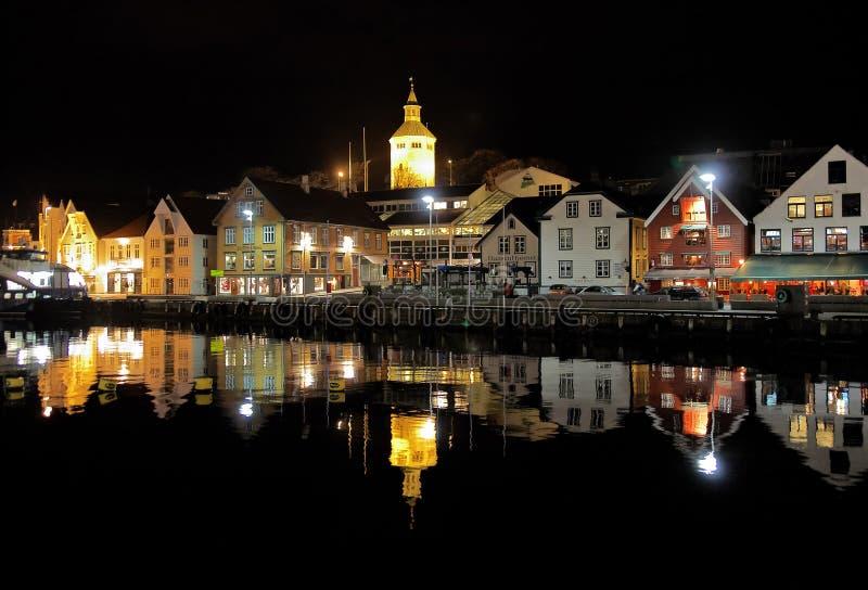 Puerto de la huésped de Stavanger en la tarde, Noruega foto de archivo libre de regalías