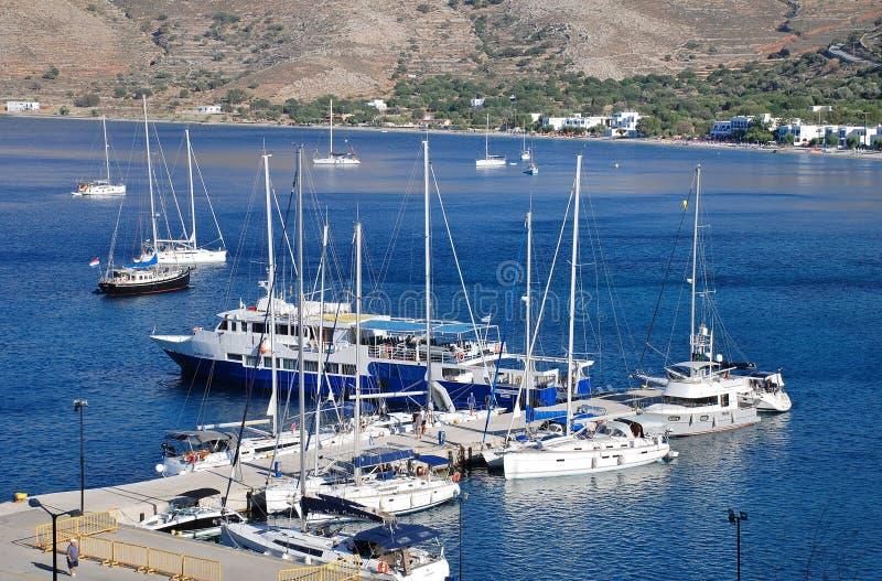 Puerto de Livadia, Tilos foto de archivo