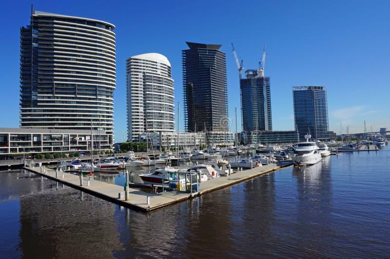 Puerto de los Docklands en Melbourne fotografía de archivo