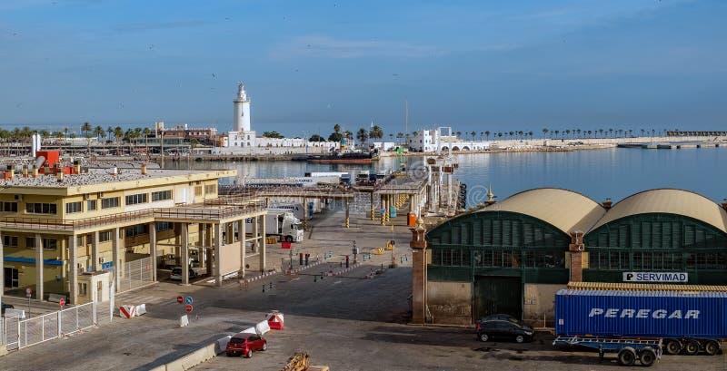 Puerto de Málaga panorámico fotos de archivo