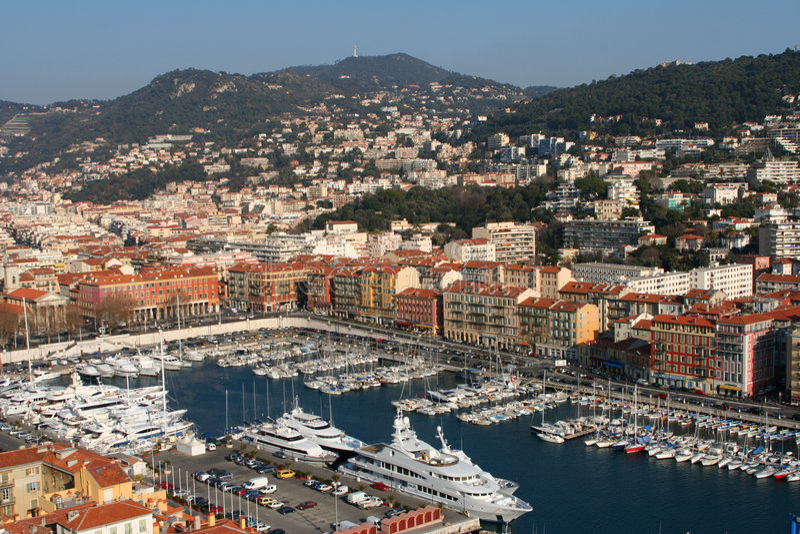 Puerto De Niza, Francia Del Yate Fotografía de archivo