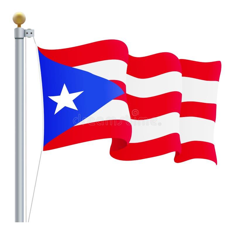 Puerto de ondulação Rico Flag Isolated On um fundo branco Ilustração do vetor ilustração stock