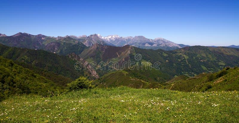 从Puerto de Pajares阿斯图里亚斯的Picos de Europa景色 免版税库存图片