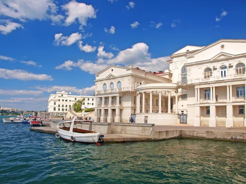 Puerto de Sevastopol. El muelle central imagen de archivo libre de regalías