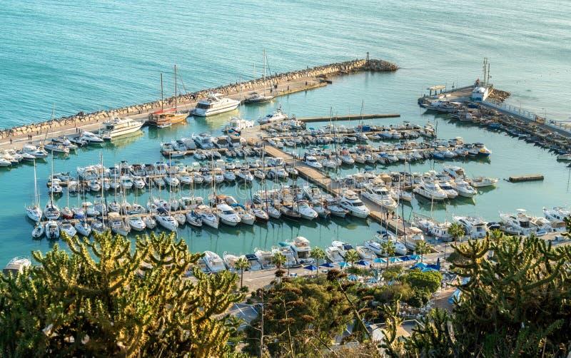 Puerto de Sidi Bou Said en Túnez fotos de archivo libres de regalías