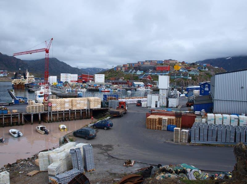 Puerto de Sisimiut, Groenlandia. imagen de archivo