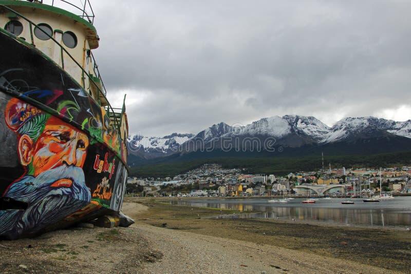 Puerto de Ushuaia, Tierra del Fuego, la Argentina imagen de archivo