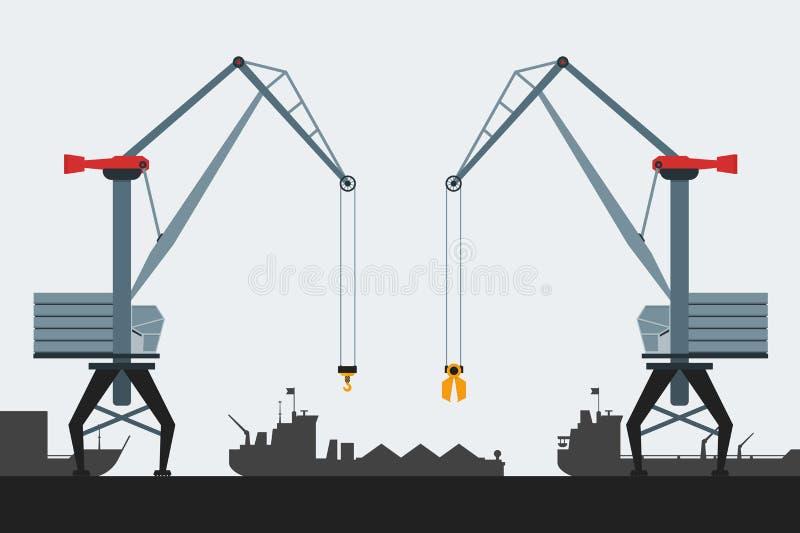 Puerto del cargo con las grúas y las naves Estilo plano moderno del diseño Iconos simples del vector ilustración del vector