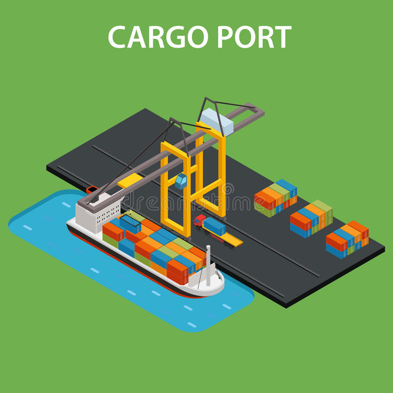 Puerto del cargo isométrico libre illustration