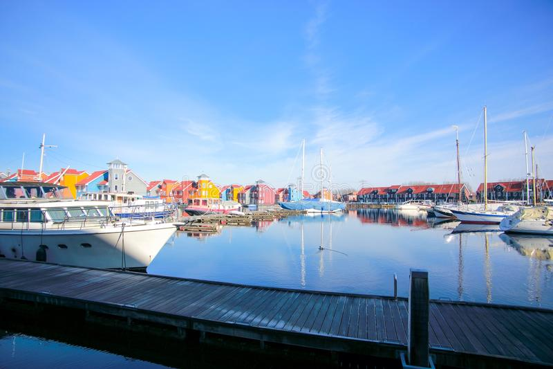Puerto del puerto deportivo de Reitdiephaven foto de archivo