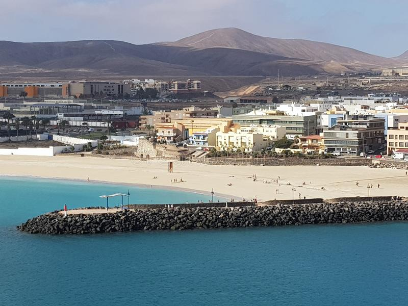 Puerto del Rosario Fuerteventura. Landscape of Puerto del Rosario Fuerteventura from the Perspective of the cruise Terminal royalty free stock images