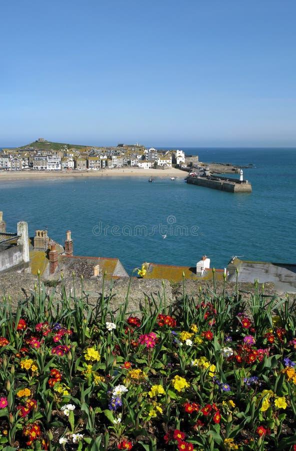 Puerto del St. Ives y flores coloridas del resorte. imagenes de archivo