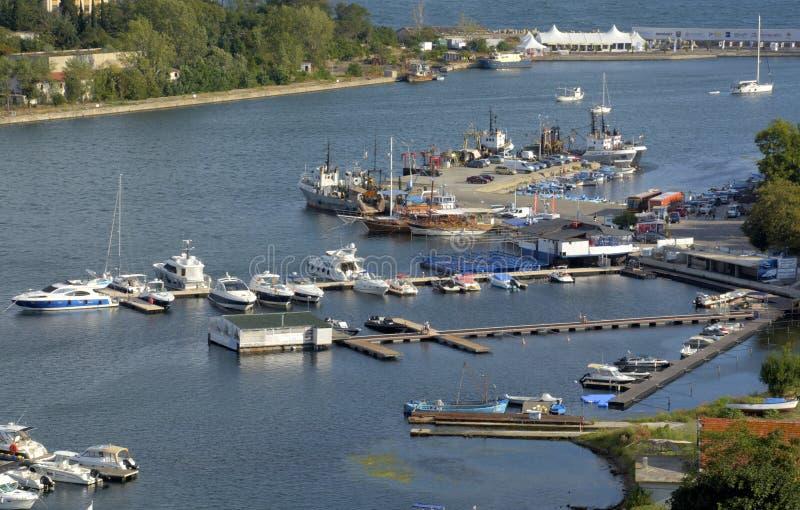 Puerto del yate de Sozopol en Bulgaria fotografía de archivo