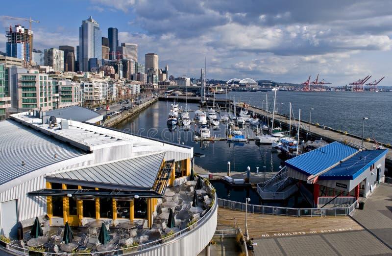 Puerto deportivo céntrico de Seattle fotos de archivo libres de regalías