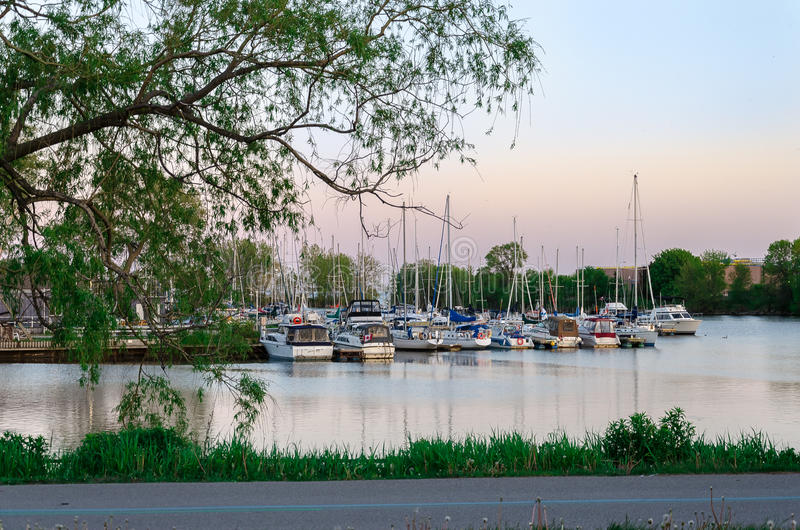 Puerto deportivo cerca de Toronto, Ontario, con muchos barcos foto de archivo libre de regalías